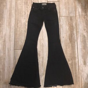 Free People black extreme flare jeans